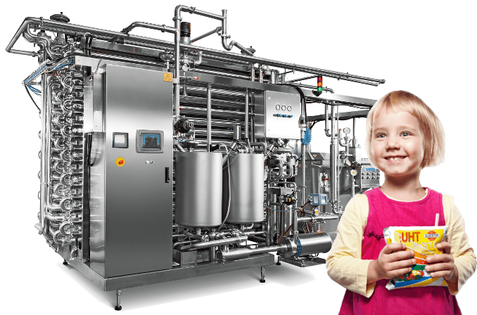 UHT Sterilizer and girl holding pouch